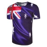 Brand Clothing New Fashion 3D Men Print Australian Flag T Shirt Short Sleeve Summer Wear T