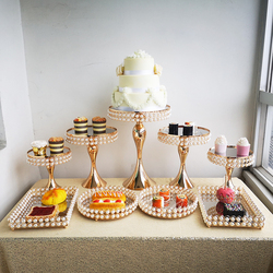 1pcs-10pcs pearl mirror Cupcake Display Metal Cake Stand for mariage party event wedding decoration