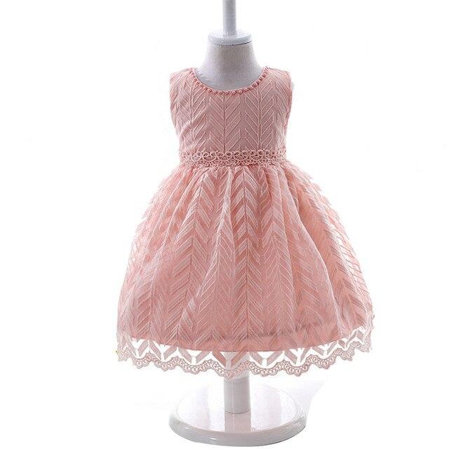 Высокое Качество Девочка Платье для Девочек Случайные цветы кружева Младенческой 1 Год День Рождения Крещение крещение Платье розовый белый