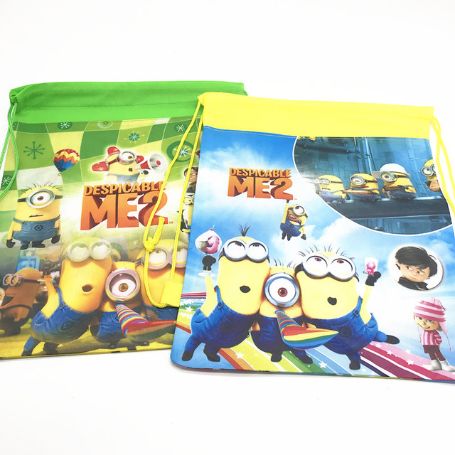 1pc Lot Minions Drawstring Backpack Bags Theme Birthday Party Decorations Gift Bag