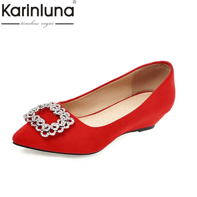 KarinLuna Women's Pointed Toe High Heel Wedge Pumps Metal Decoration Slip On Shoes Woman Big Size 33-43 nayiduyun women genuine leather wedge high heel pumps platform creepers round toe slip on casual shoes boots wedge sneakers
