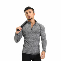 Autumn Long Sleeve Tight Gyms Zipper Neck T Shirt Men Fashion Brand Clothing Bodybuilding Fitness Men