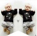 Мода весна мальчиков длинный рукав хлопок мультфильм лиса футболка + волна брюки костюм новый дизайн детская одежда дети носить 16A12