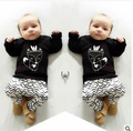 Fashion spring boys long sleeve cotton cartoon fox t shirt+ wave pants suit new design children's clothing kids  wear 16A12