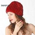 Бесплатная Доставка Новая Мода Настоящее Подлинная Норки Hat Cap Природа Вязать Норки Меховая Шапка Женская Мода Головные Уборы DFP322