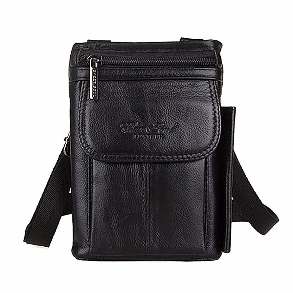 100% Genuine Leather Men Business Messenger Bag First Layer Cowhide Crossbody Shoulder Bags Male Loop Skin Belt Fanny Waist Pack