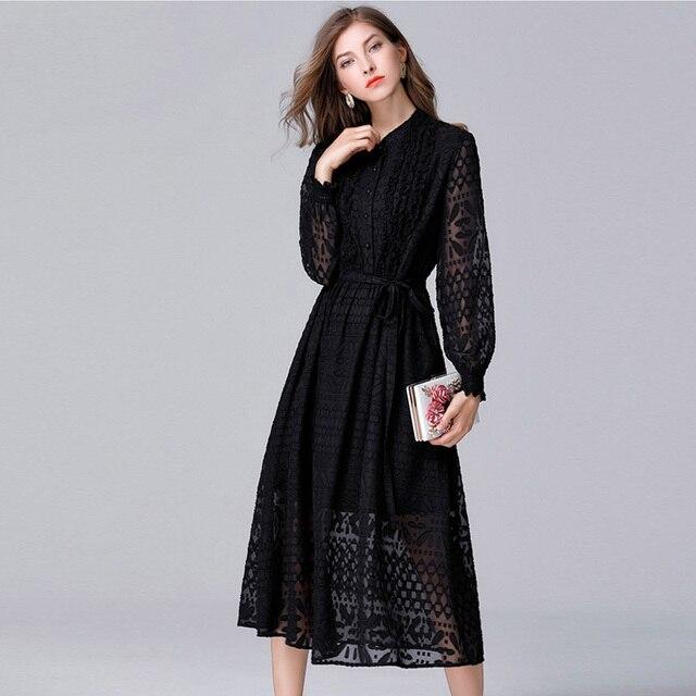 2017 Women Autumn Elegant Black Lace Plus Size Dress Female Lantern