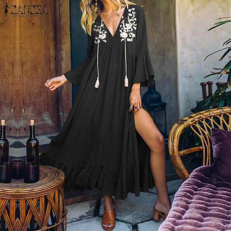 ZANZEA женское богемное пляжное платье с v-образным вырезом летнее Открытое платье с разрезом на подоле Женская одежда с цветочным принтом и оборками длинное платье Vestido Robe с расклешенными рукавами