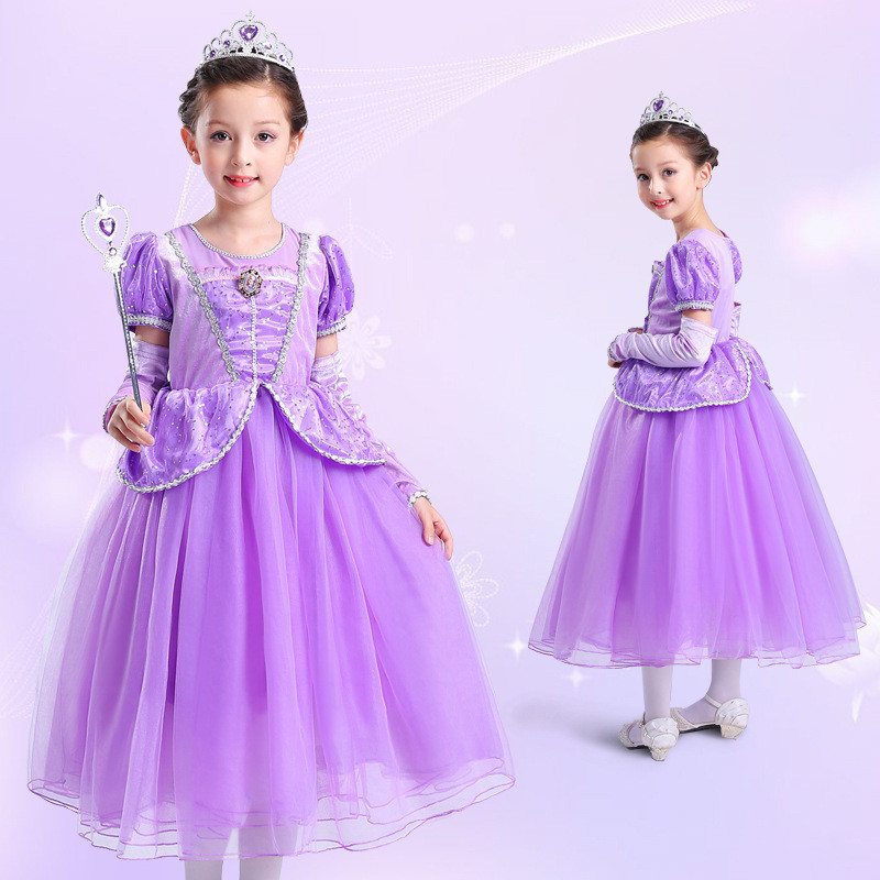 Children Halloween Party Cosplay Dress Sofia Girl Princess Dress Costume Kids Vestido Clothing Purple Christmas Festival Dresses