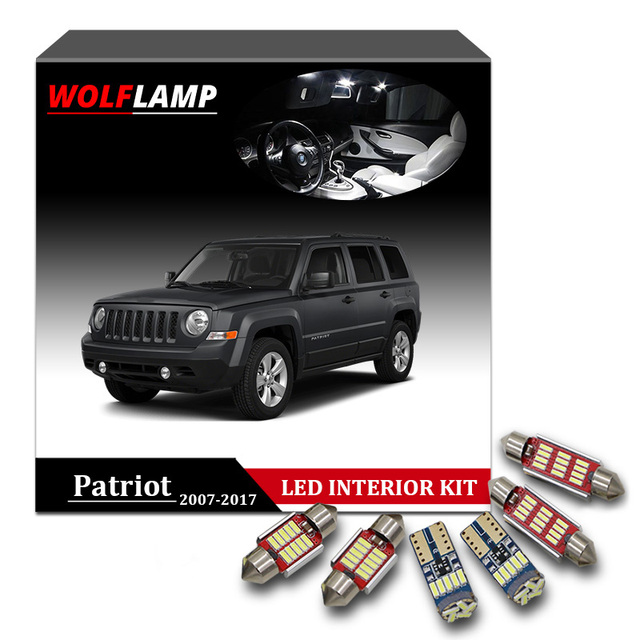Wolflamp 10pcs Super Bright White Canbus Led Interior Car Lights For 2007 2017 Jeep Patriot Map Dome Light License Plate Lamp