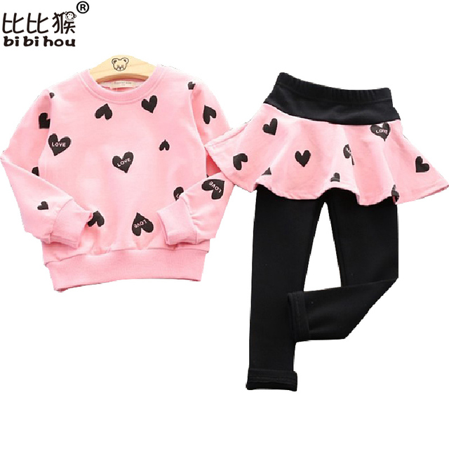 Toddler Girls Clothing Sets 2017 Autumn Winter Children Girls Clothes T-shirt+Pants Christmas Outfits Kids Girls Sport Suit