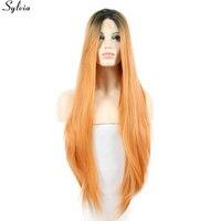 Sylvia Heat Resistant Fiber Hair 1B Black Peach Orange Ombre 18
