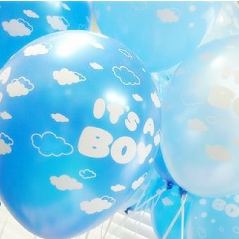 30pcs/lot 12inch Latex Balloons Baby Boy Birthday Balloon Its A Boy Printing Pea