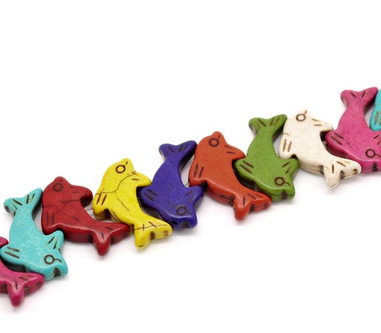 Бесплатная доставка 5 нитей (около 5x25 шт.) смешанный dophin животных Howlite Loose Камень Бусины 29x20 мм оптовая продажа
