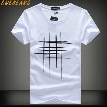 SWENEARO 2018 Simple creative design line cross Print cotton T Shirts Men's New Arrival Summer Style Short Sleeve Men t-shirt