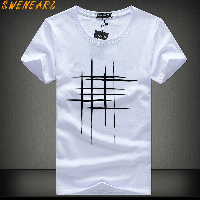 SWENEARO 2018 Einfache kreative design linie querdruck baumwolle T Shirts männer Neue Ankunft Sommer Stil Kurzarm Männer t-shirt