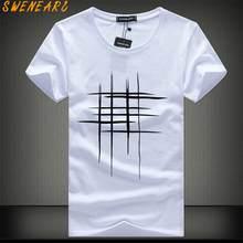 71cad665cd2c7c SWENEARO 2018 Einfache kreative design linie querdruck baumwolle T Shirts  männer Neue Ankunft Sommer Stil Kurzarm Männer t-shirt