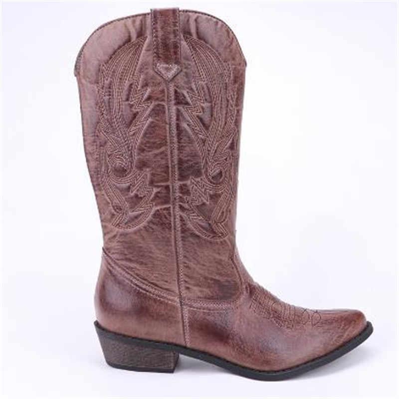 Top. damet kadın diz yüksek çizmeler deri kovboy Cowgirl çizmeler sivri burun Slip-On batı kızlar motosiklet ayakkabı kadın bayanlar