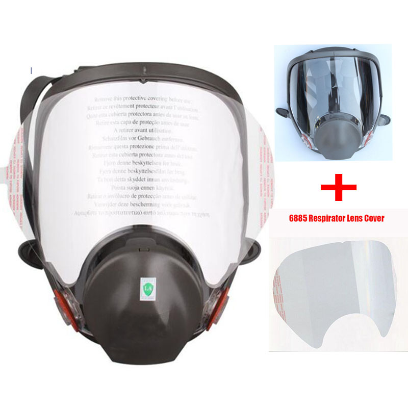 Industry Painting Spraying Full Face Gas Mask Same For 3M6800 Chemcial Dust Mask Respirator With Lens Protective Film 9 in 1 suit gas mask half face respirator painting spraying for 3 m 7502 n95 6001cn dust gas mask respirator
