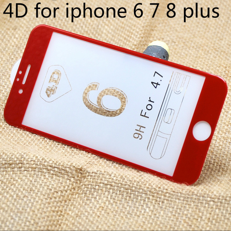 Red 4D For iphone 6s plus 7 8 x 9H Tempered Film Screen Protector For iphone x 6s 7 8 Plus 4D Tempered Glass Film For iphone 6 7|screen protector|tempered glass film|tempered film - title=