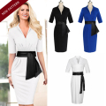 Women's Dress 2016 Women's Work Office Belted Tunic Evening Party Pencil Dress Half Sleeves Deep V Neck Sheath Dress Vestidos