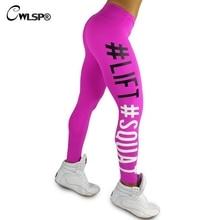 CWLSP Sexy Skinny Legging Women Sportswear Lift Squat Print Fitness Pants Push Up Hips Women's Leggins stretch pants QA1577