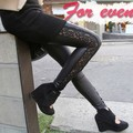 Hot Autumn Winter Soft Nap Fleece Lined Women Ladies Feet Pants Leggings Pencil Pants Hollow Out PU Leather Lace Skinny Trousers
