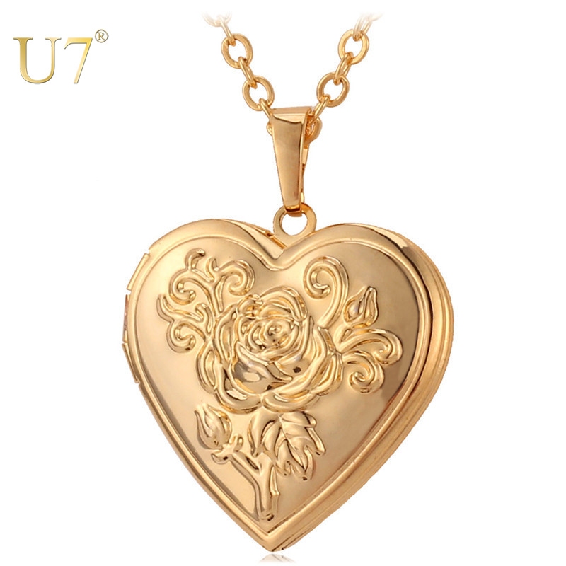U7 Heart Locket Necklace Pendant Metal Brass Gold Photo Frame Memory Romantic Love Necklace for Women Christmas Gift Hot Sale