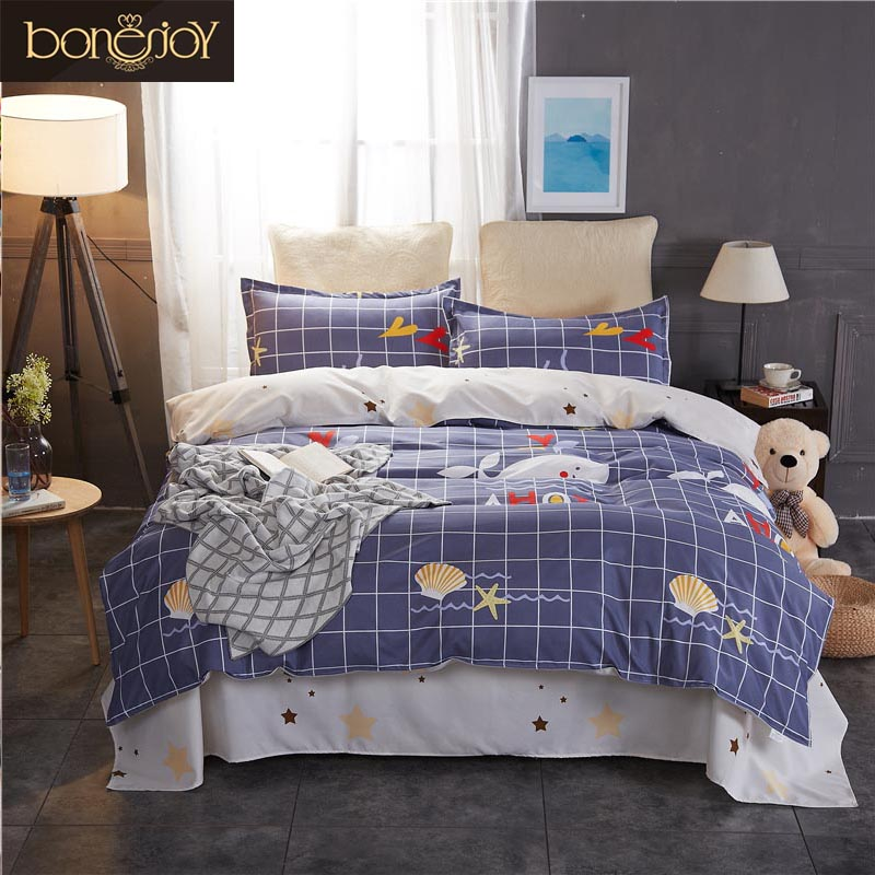 Bonenjoy Queen Bedding Set King Size Blue Plaid Bed Cover Cartoon Starfish Printed Duvet Cover Bedding Linen Sets For Kids
