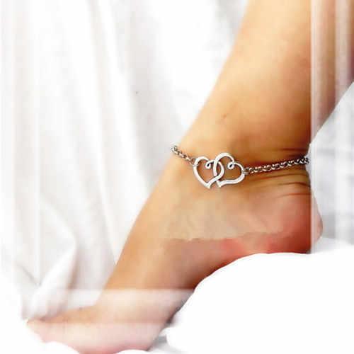 New Arrival podwójne serce obrączki prosty srebrny łańcuszek bransoletka na kostkę na nogę moda bransoletki plażowe na kostkę dla kobiet biżuteria na stopy