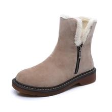 Fashion Autumn Winter Boots Faux Fur Leather Suede Brand New Women Flats Snow Boots Plush Warm Female Shoes Plus size 35-43
