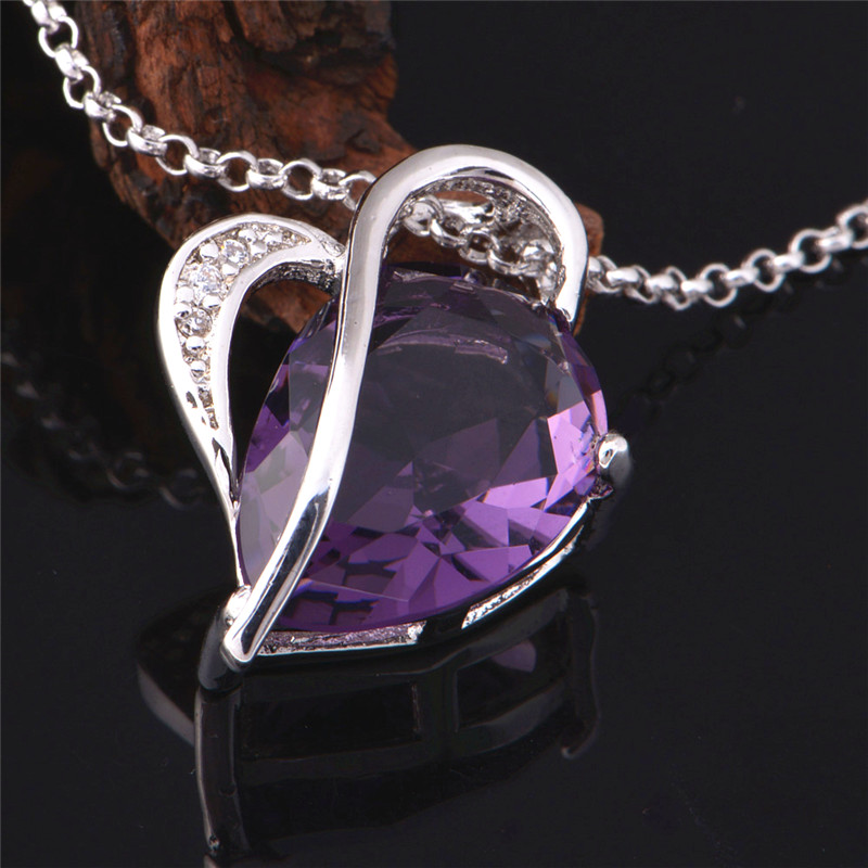 Almei Love Silver Anillos Cz Zircon Ring Earrings Necklace Engagement Bridal Accessories Bijoux Heart Purple Jewelry Sets T072