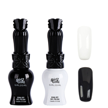 girl2Girl UV Manicure Gel Nail Polish Varnish Soak Off 15ml WHITE & BLACK SET High quality
