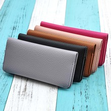 2016 European and American style solid color women wallet Pu Leather Female Purse wallet female famous