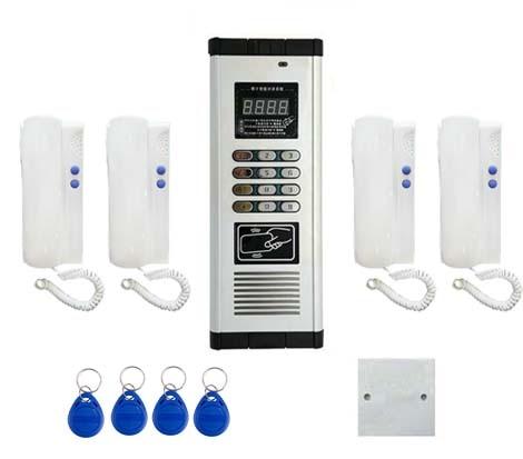 Für 4-wohnungen Audio Tür Telefon Id Karte & Passwor Entriegelung Online Rabatt Xinsilu Drücken Sie Direkt Wählen Nicht-visuelle Gebäude Intercom System