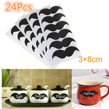 24PCS/Lot Vinyl Home Cup Container Chalkboard Sticker Labels In Moustache Wall Blackboard 4cmX8cm