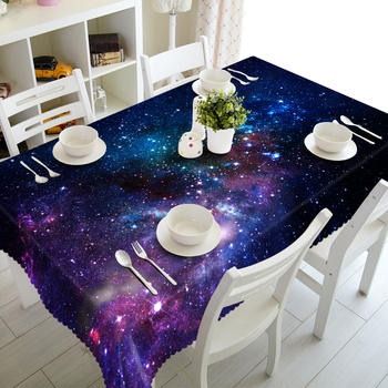 Cartoon Blue Night Sky Pattern 3d Tablecloth Restaurant Decoration Waterproof Thicken Cotton Rectangular and Round Table cloth 3d white lily flowers pattern tablecloth wedding decoration thicken cloth round table cloth waterproof rectangular table cover