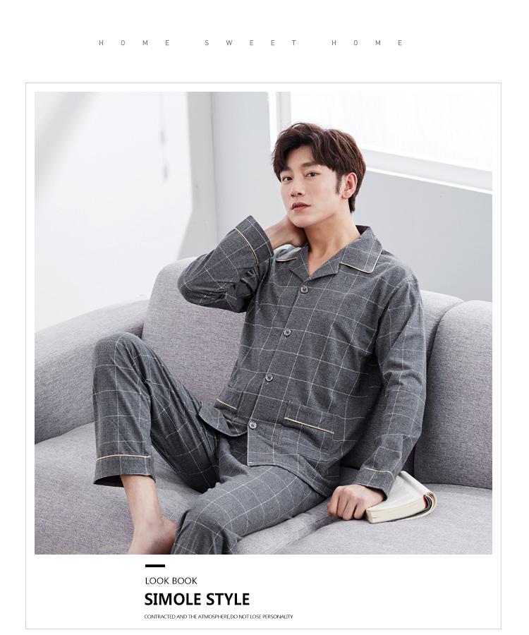 Men Pajama Sets Spring Autumn Winter Plus Size 3XL 100% Cotton Comfortable  Long sleeve Male Sleepwear Set Tracksuit Set homewear-in Pajama Sets from