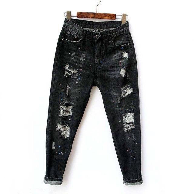 Womens High Waist Black Ripped Harem Jeans For Women Boyfriend Pantalon Jean Mujer Hot Denim Pants Cowboys Calcas Jeans Trousers