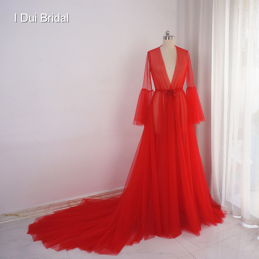 illusion tulle long boudoir robe photography evening dress long sleeve robe scarf party gown school christmas dance dress