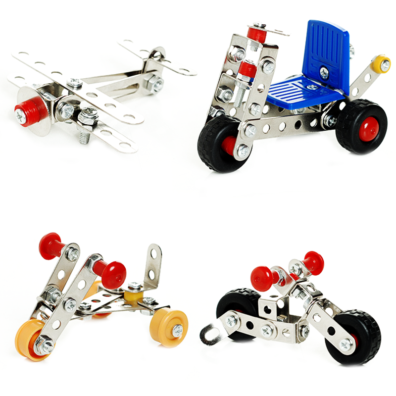 1 set creative children metal toys cars model building kits block assembled inserted aircraft educational baby