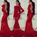 2015 великолепная бато длинные рукава блестки спинки пром платья длинные русалка корсет вечернее платье