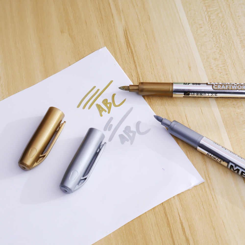 1 sztuk marker z farbą Graffiti tłustej kolor metalu pióro technologia złoto srebro 1.5mm marker z farbą materiały dla studentów MP550 marker caneta