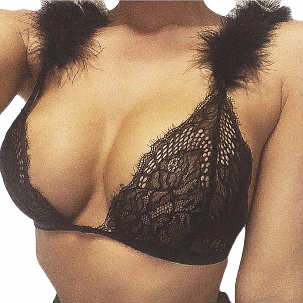 Hot Sexy Women Lace Bralette Bra Fur Strap Brassiere Crop Tops Lingerie -4354