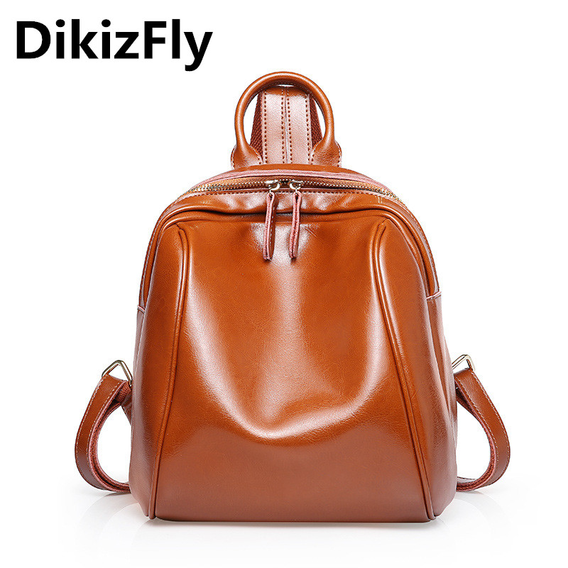Genuine DikizFly KYQSL40 women Backpacks High quality Real Leather Backpack Preppy Style Backpacks Softback travel bags