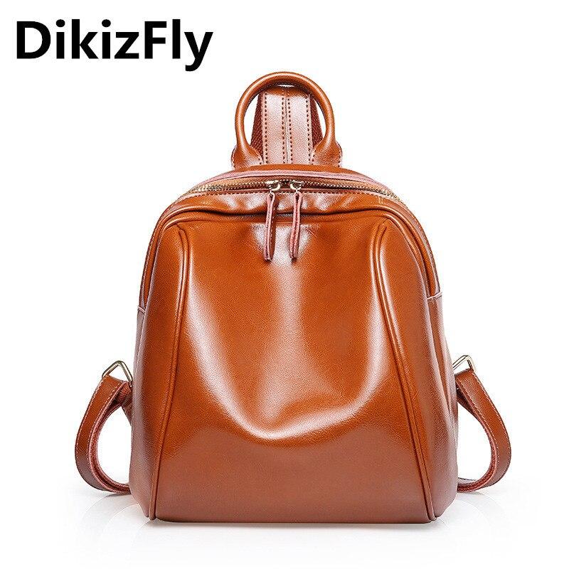 Véritable DikizFly KYQSL40 femmes sacs à dos de haute qualité en cuir véritable sac à dos Style Preppy sacs à dos souple sacs de voyage mochila