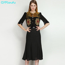 2017 Runway Fashion Women's Black Piece Set Vintage Sequined Blouse Shirt + Summer Casual Office Chiffon Long Skirt Set Suit