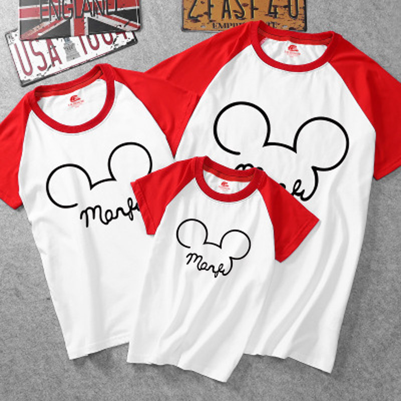 Mother Kid T-shirt Family Look Matching Outfits Clothing Printed Mickey Mouse Shirt Father Baby Mom And Daughter Dress Size Q004