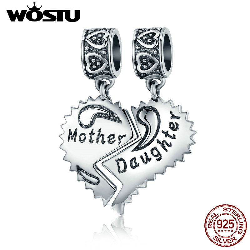 WOSTU New 100% 925 Sterling Silver Mother & Daughter Love Forever Dangle Bead Fit Original WST Charm Bracelet Pendant CQC427