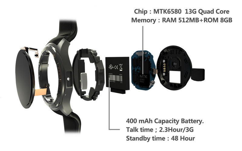 DM368 Smart Watch 3G GPS MTK6580 Android Quad Core 512MB 8GB Heart Rate  Monitor 1 39 inch AMOLED Bluetooth Wristwatch Smartwatch